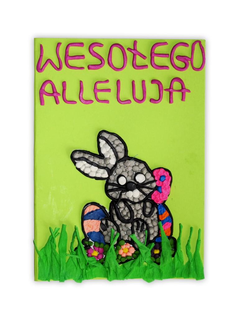 Zdjęcie przedstawia przesłaną kartkę konkursową na Konkurs Wielkanocny 2021 w kategorii dzieci 5 - 6 lat autorstwa H. Zofia