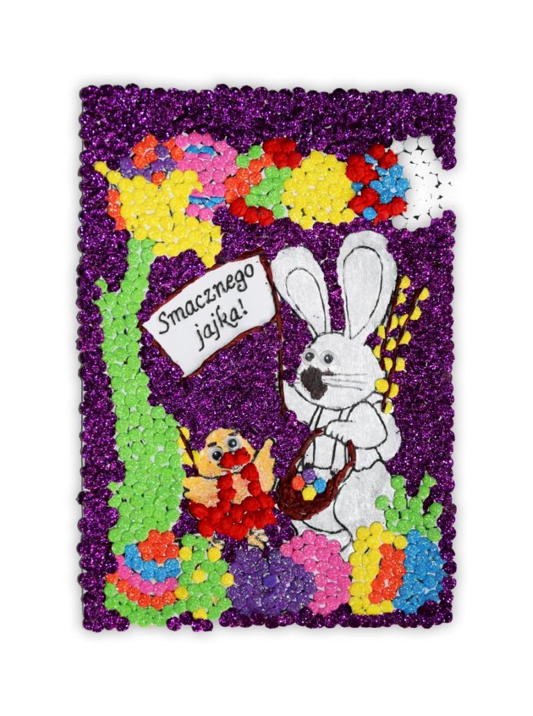 Zdjęcie przedstawia przesłaną kartkę konkursową na Konkurs Wielkanocny 2021 w kategorii dzieci 10 - 13 lat autorstwa S. Roksana