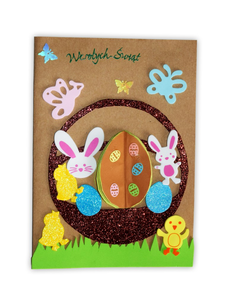 Zdjęcie przedstawia przesłaną kartkę konkursową na Konkurs Wielkanocny 2021 w kategorii dzieci 5 - 6 lat autorstwa J. Hanna