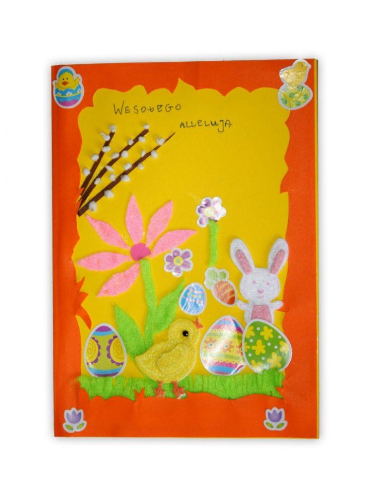 Zdjęcie przedstawia przesłaną kartkę konkursową na Konkurs Wielkanocny 2021 w kategorii dzieci 7 - 9 lat autorstwa O. Alicja