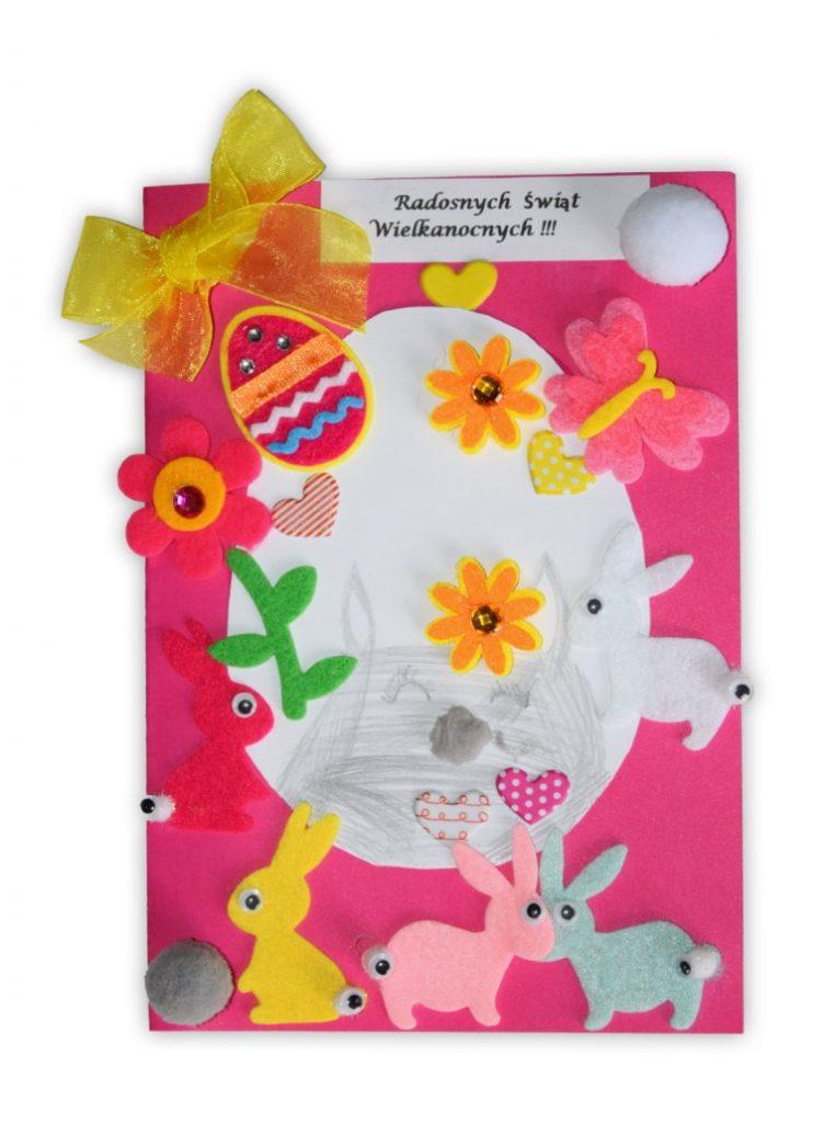 Zdjęcie przedstawia przesłaną kartkę konkursową na Konkurs Wielkanocny 2021 w kategorii dzieci 7 - 9 lat autorstwa P. Alicja