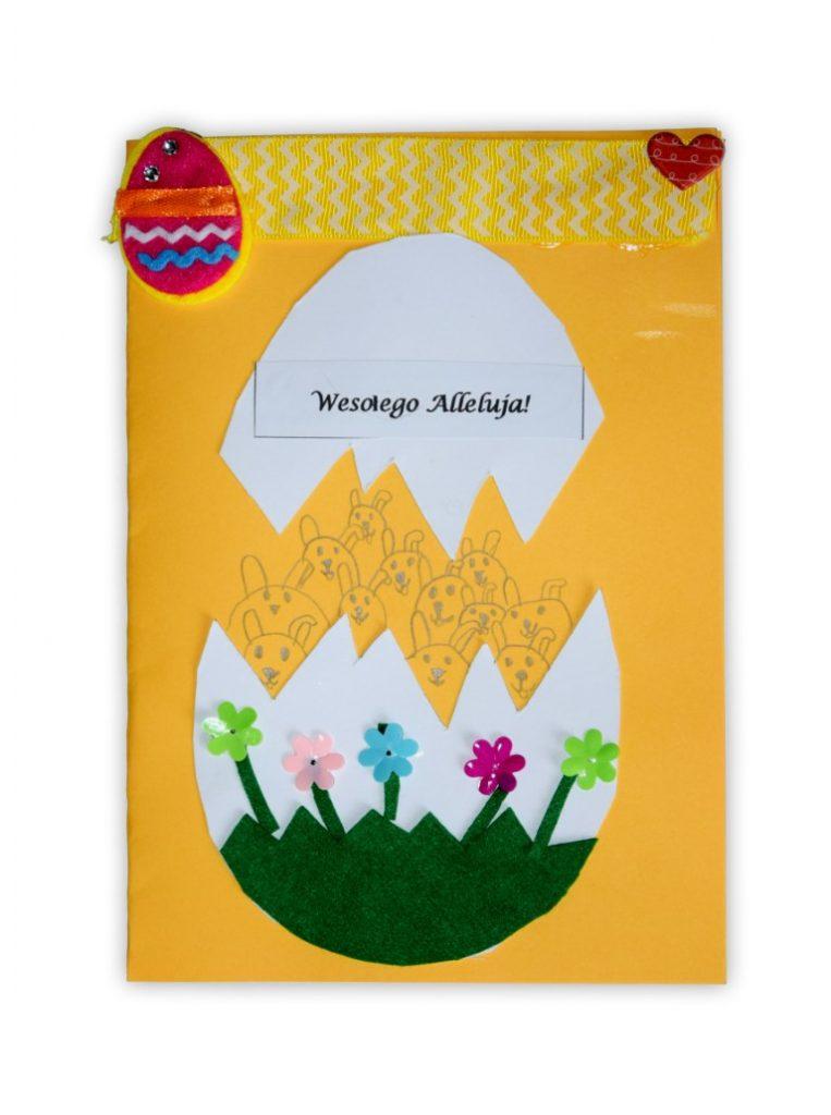 Zdjęcie przedstawia przesłaną kartkę konkursową na Konkurs Wielkanocny 2021 w kategorii dzieci 7 - 9 lat autorstwa T. Natalia