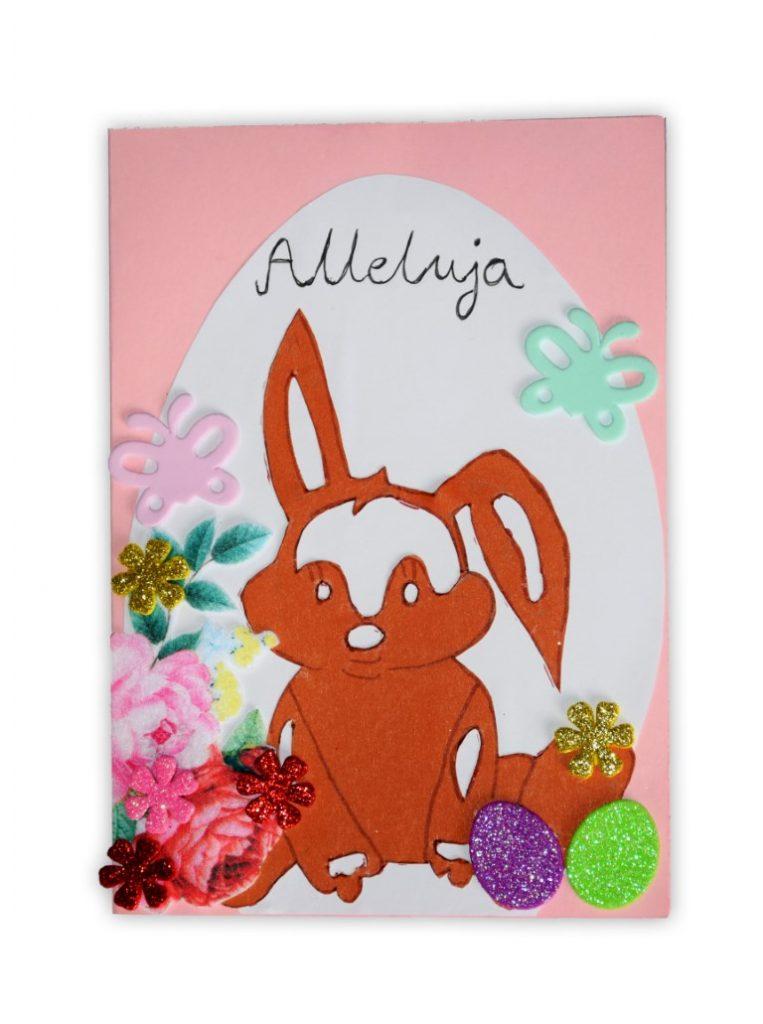 Zdjęcie przedstawia przesłaną kartkę konkursową na Konkurs Wielkanocny 2021 w kategorii dzieci 10 - 13 lat autorstwa R. Dawid