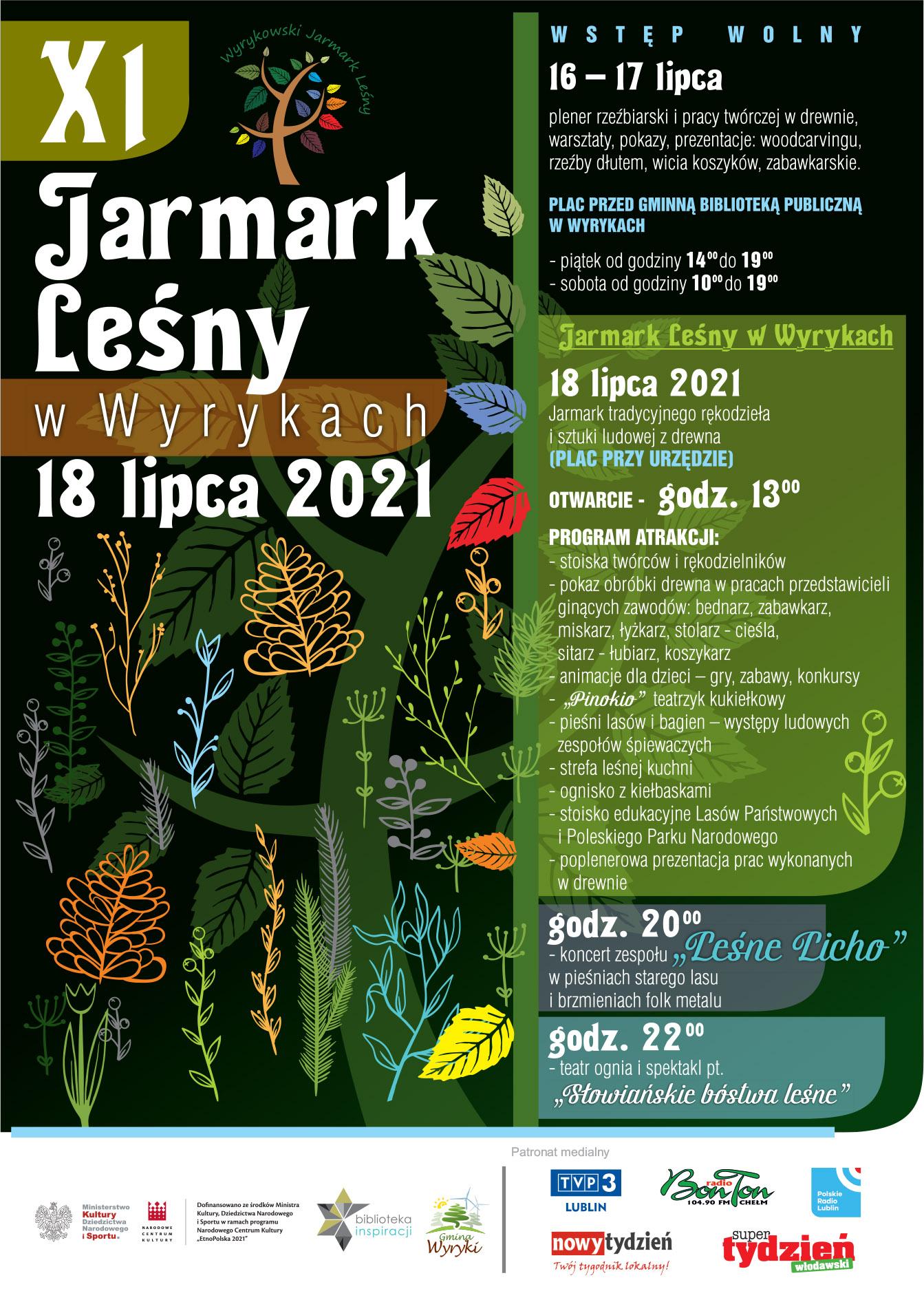 Plakat XI Jarmark Leśny w Wyrykach 2021